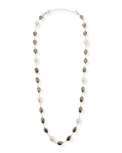 Pearl & Pyrite Long Necklace