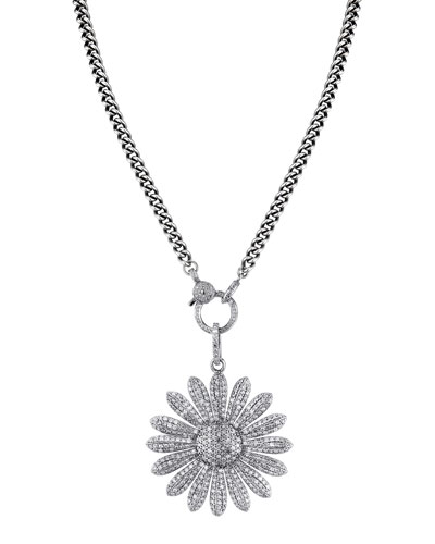 Daisy Diamond Pave Pendant Necklace, 40