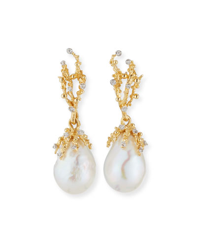 18k Ocean Sculpted Pearl Earrings w/ Diamonds