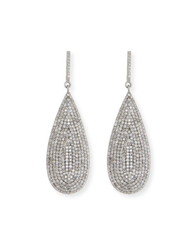 Large Flat Silver Diamond Teardrop Earrings