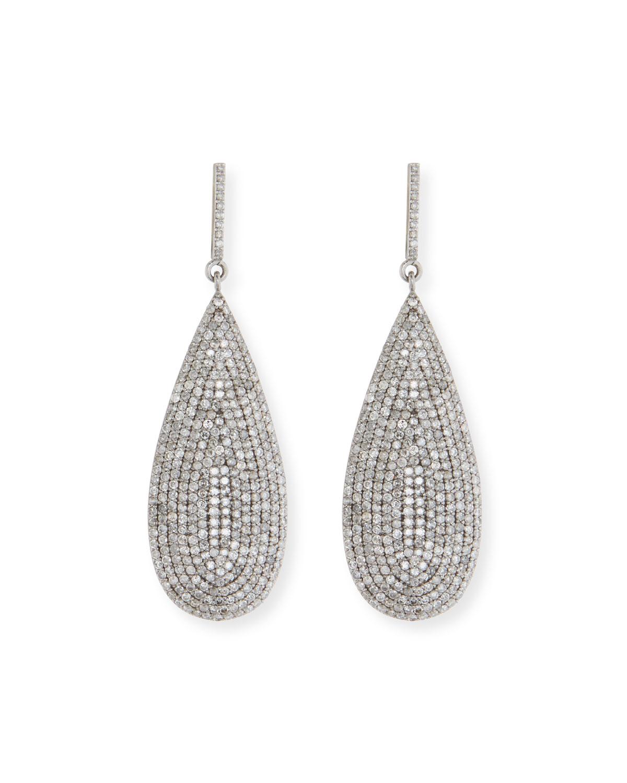 Large Flat Silver Diamond Teardrop Earrings