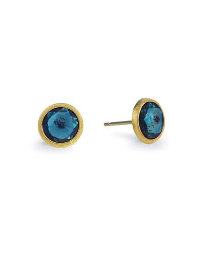 Jaipur 18k Blue Topaz Stud Earrings