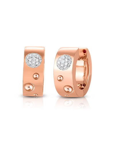 Pois Moi Luna 18k Rose Gold Diamond Huggie Hoop Earrings