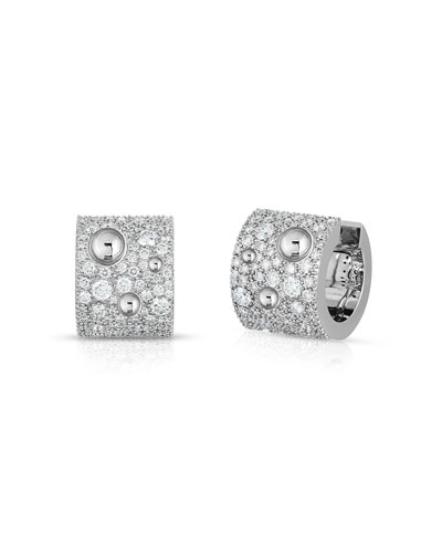 Pois Moi Luna 18k White Gold Diamond Huggie Hoop Earrings