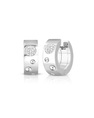 Pois Moi Luna 18k White Gold Huggie Hoop Earrings