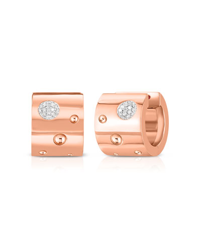 Pois Moi Luna 18k Rose Gold Huggie Hoop Earrings