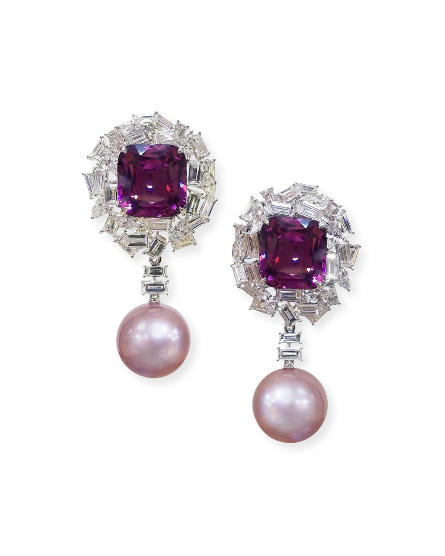 MARGOT MCKINNEY JEWELRY 18K White Gold Pink Pearl, Purple Spinel & Diamond Earrings