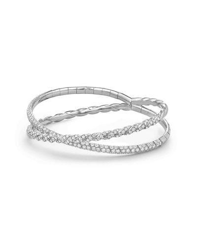 18k White Gold Paveflex Two-Row Diamond Bracelet, Size M