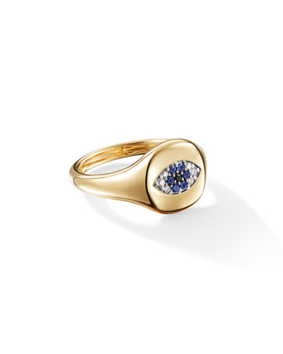 18k Gold Diamond Evil Eye Pinky Ring, Size 2.5