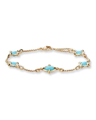 18k Chatelaine Turquoise Chain Bracelet