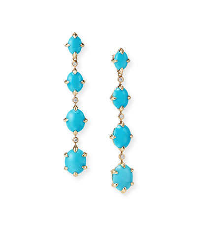 Quick Look David Yurman 18k Gold Claine Turquoise Diamond Drop Earrings