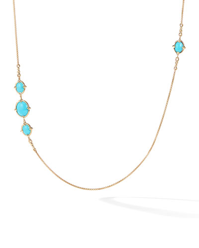 18k Gold Chatelaine Turquoise Station Necklace