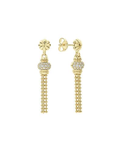 18k Caviar Gold Tassel Earrings w/ Diamonds