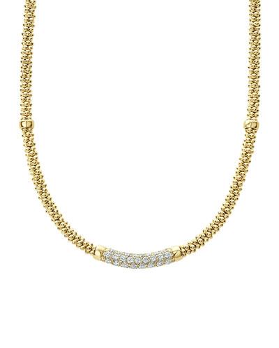 18k Caviar Gold Rope Necklace w/ Diamonds, 16