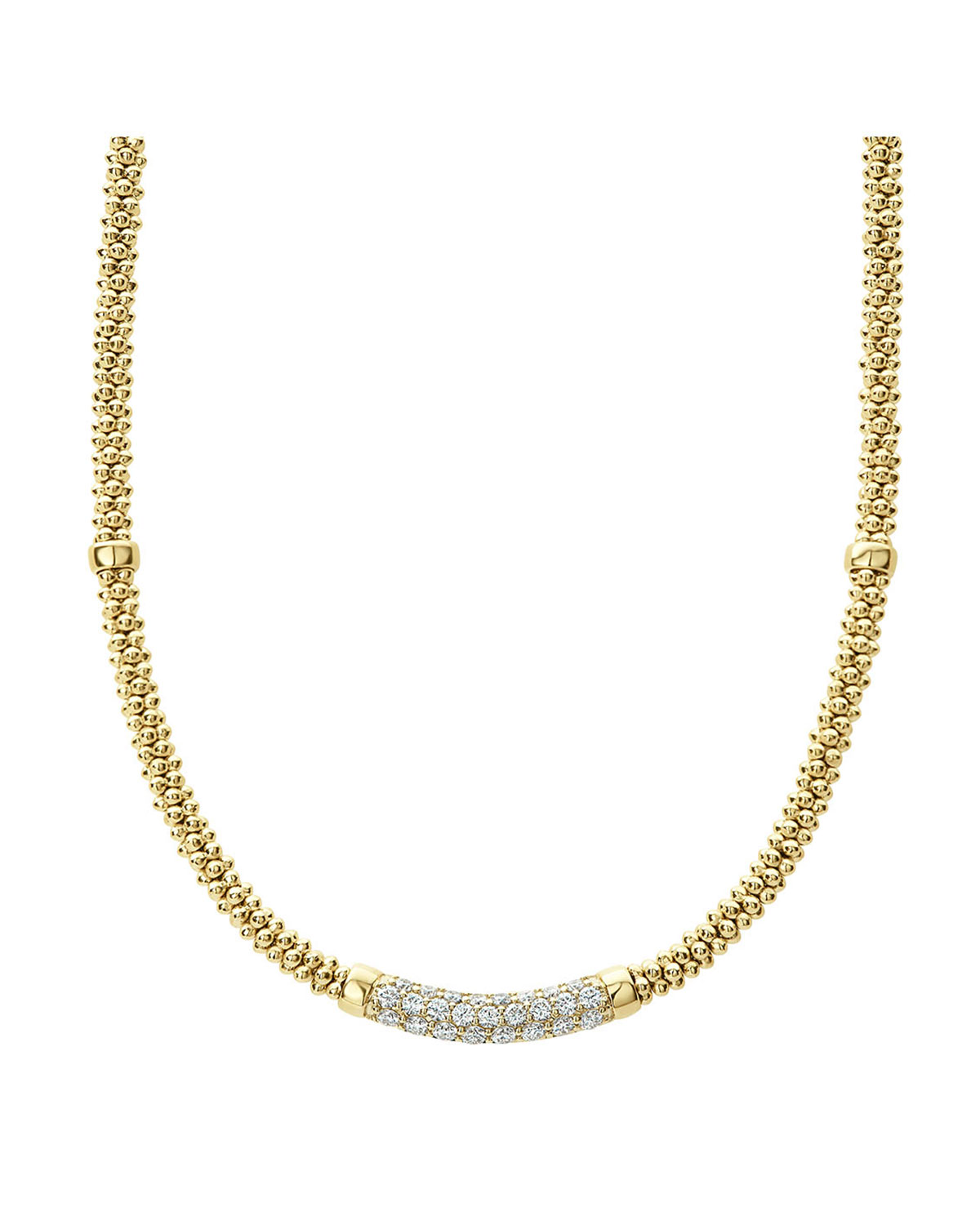 Lagos 18K CAVIAR GOLD ROPE NECKLACE W/ DIAMONDS, 18""