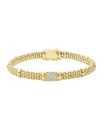 18k Caviar Gold Diamond Rope 6mm Bracelet, Size M