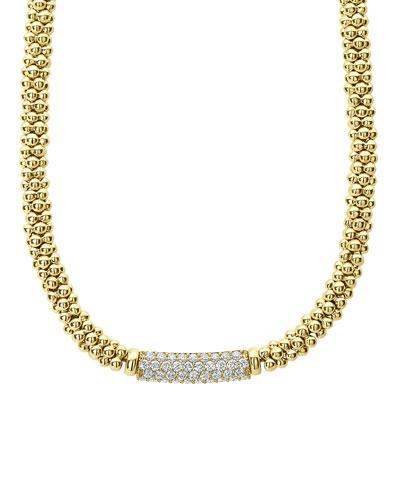 18k Caviar Gold Rope Necklace w/ 19mm Diamond Plate