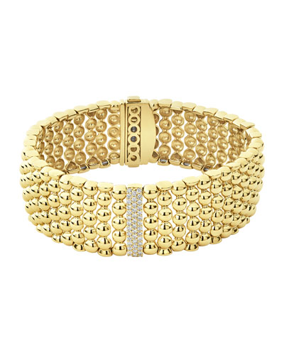 18k Caviar Gold Diamond-Plate Wide Rope Bracelet - 20mm, Size M