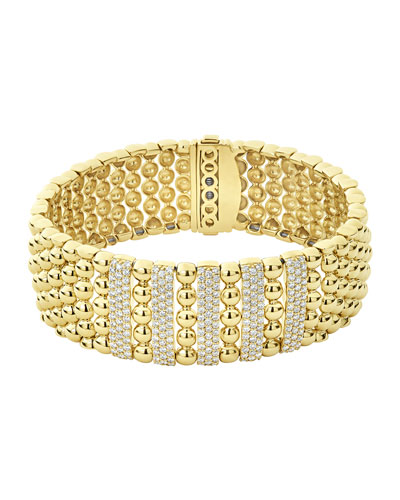 18k Caviar Gold Wide Rope Bracelet w/ Five Diamond Plates, Size M