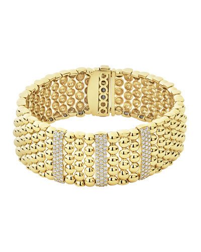 18k Caviar Gold Wide Rope Bracelet w/ Three Diamond Plates