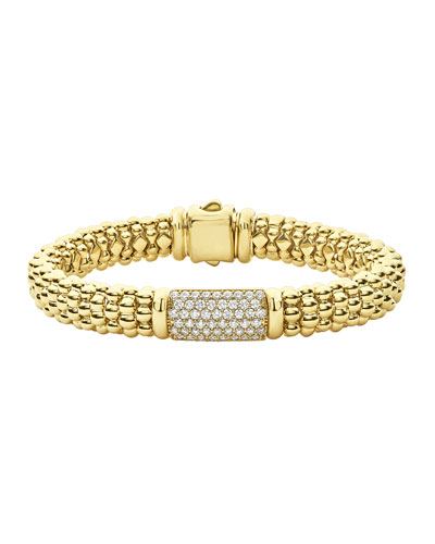 18k Caviar Gold Rope Bracelet w/ 17mm Diamond Plate