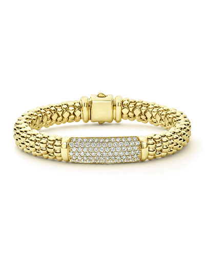 18k Caviar Gold Rope Bracelet w/ 25mm Diamond Plate
