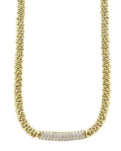 18k Caviar Gold Rope Necklace w/ 27mm Diamond Plate