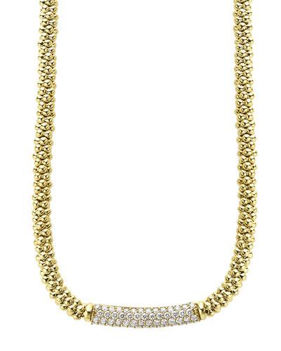 18k Gold Caviar Rope & Diamond Necklace, 27mm