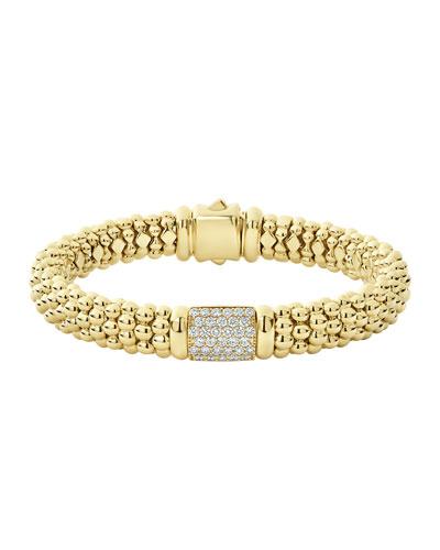 18k Caviar Gold Diamond Rope Bracelet - 9mm, Size M