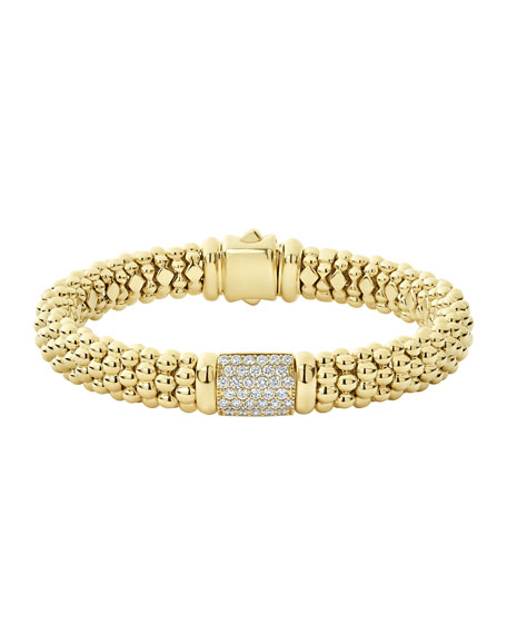 Lagos 18k Caviar Gold Diamond Rope Bracelet - 9mm, Size M