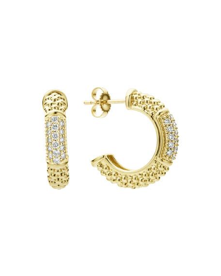 Lagos 18k Caviar Gold Hoop Earrings w/ Diamonds