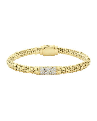 18k Caviar Gold 15mm Rope Bracelet w/ Diamonds