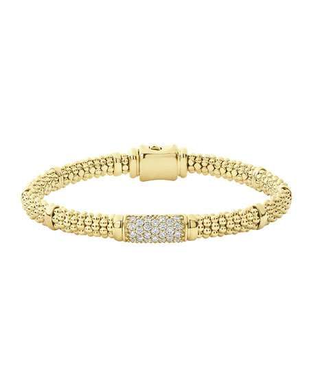 Lagos 18k Caviar Gold 15mm Rope Bracelet w/ Diamonds