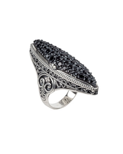 Black Spinel Pave Marquise Ring, Size 7