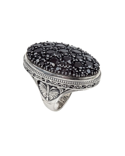 Black Spinel Pave Oval Ring, Size 7