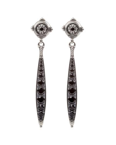 Black Spinel Dangle Earrings