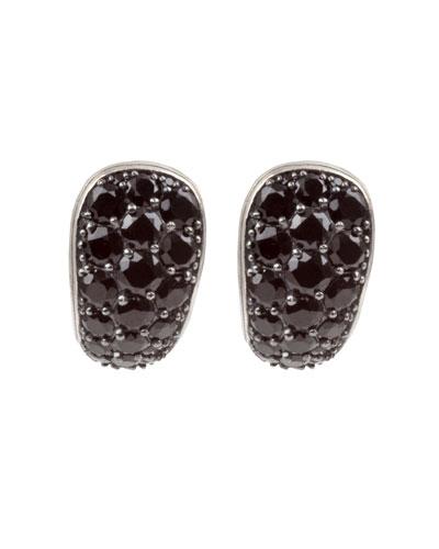 Black Spinel J-Hoop Earrings
