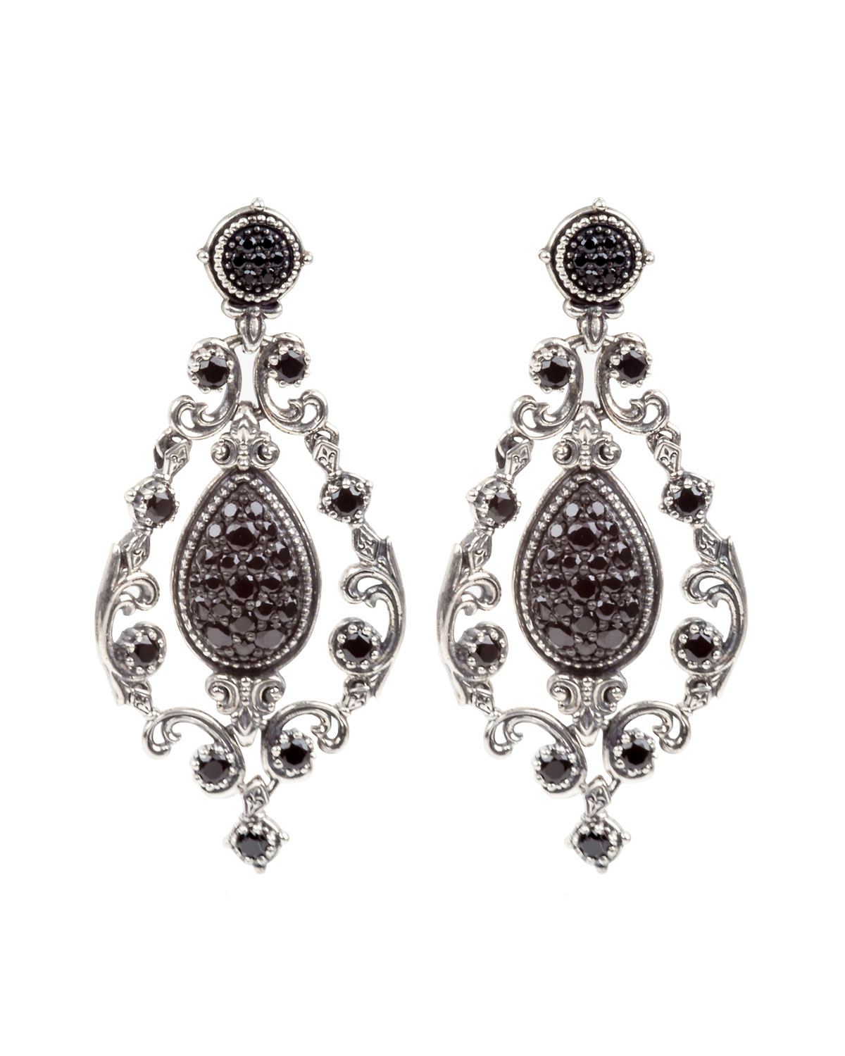 Konstantino Black Spinel Scroll Drop Earrings