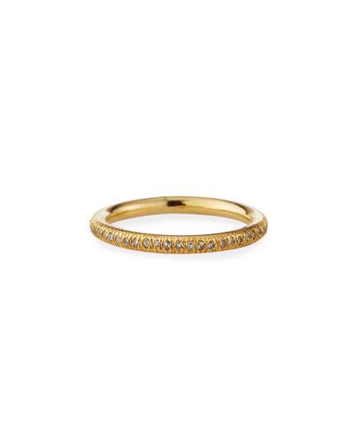 14k Diamond Pave Donut Stack Ring, Size 8.5