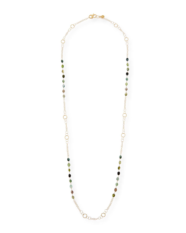 18K Gold Long Paraiba Tourmaline Necklace