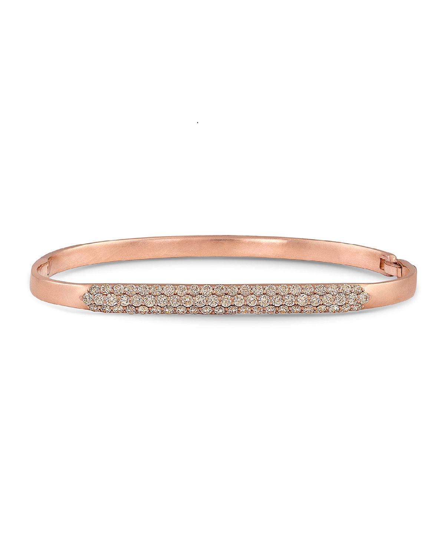 18K Rose Gold Diamond Hinged Huggie Bangle Bracelet