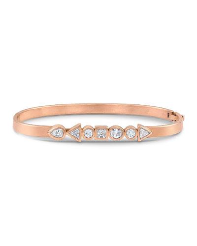 18k Rose Gold Mixed-Shape Diamond Hinged Huggie Bangle Bracelet