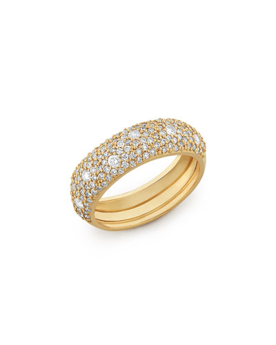 14k Yellow Gold Diamond Curve Ring, Size 7