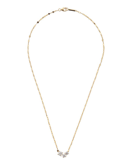 Lana 14k Gold Triple Diamond Solo Pendant Necklace