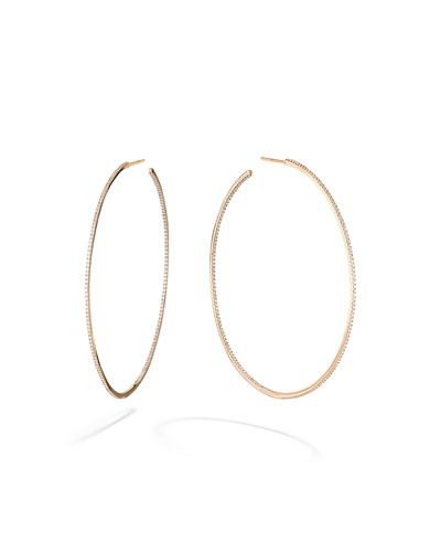 Skinny 14k Gold Diamond Hoop Earrings