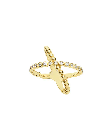 Lagos 18k Caviar Gold Diamond X Ring, Size 7