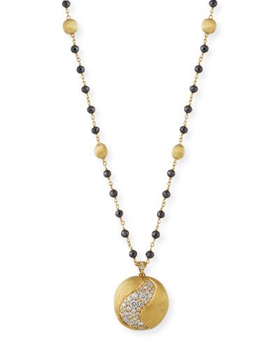 African 18k Diamond Pendant Necklace