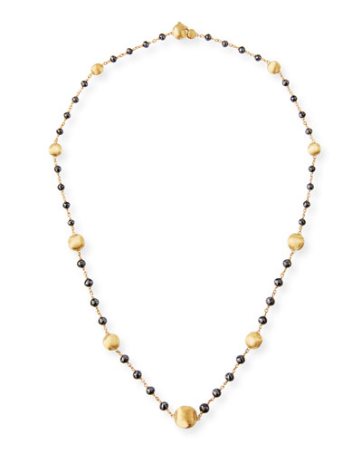 Africa 18k Gold Short Necklace with Black Diamonds