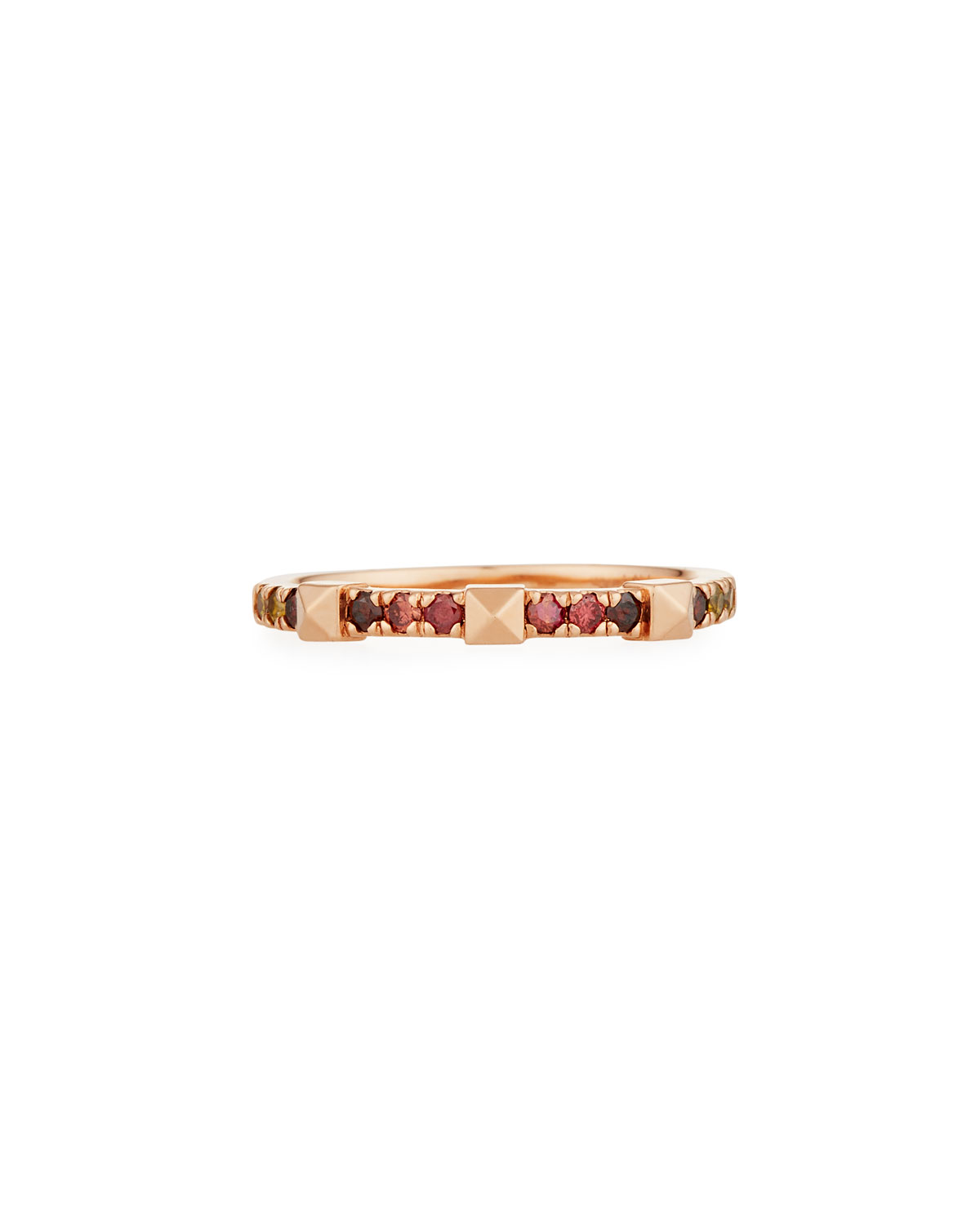 STEVIE WREN 14K Rose Gold Warm Ombre Diamond & Pyramid Stackable Ring, Size 7