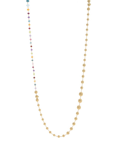 Africa 18k Mixed Gemstone Long Necklace